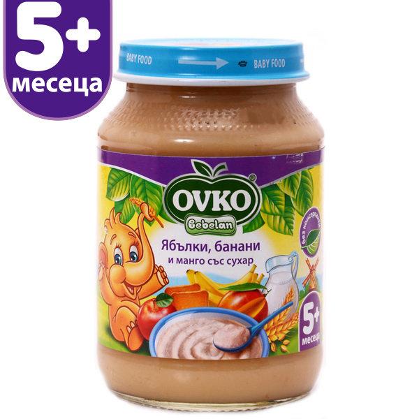 OVKO Бебешка млечна каша Ябълки, банани, манго и сухар 190 гр.